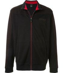 boss fine knit sweatshirt cardigan - black