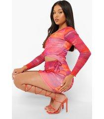 petite mesh mini wikkel jurk met uitsnijding en opdruk, orange
