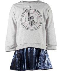 sweatshirt & removable dress bi-material two piece set