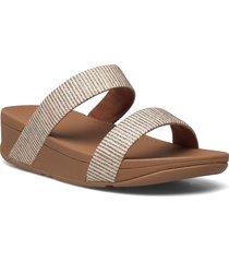 lottie glitter stripe slides shoes summer shoes flat sandals beige fitflop