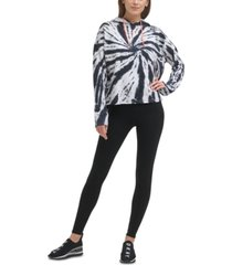 dkny sport women's tie dye hooded sweatshirt