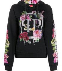 philipp plein floral embellished hoodie - black