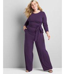 lane bryant women's knit lena jumpsuit 22/24 plume purple