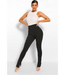 long line slim fit broek met krijtstrepen en split, zwart
