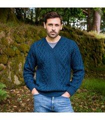 the raphoe aran sweater blue xxl