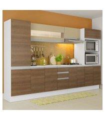 cozinha completa 100% mdf madesa smart 300 cm modulada com armário, balcáo e tampo branco