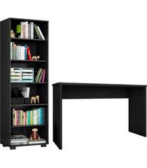 conjunto escritã³rio 2 peã§as mesa gã¡vea e estante office preto - mã³veis leã£o - preto - dafiti