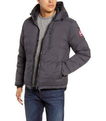 men's canada goose lodge packable windproof 750 fill power down hooded jacket, size x-large - grey