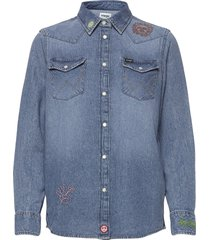boyfriend western sh långärmad skjorta blå wrangler