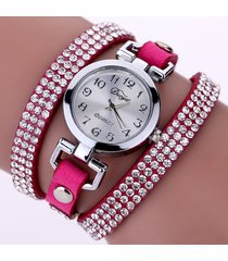 orologio da polso in pelle a più strati con cinturini in strass a quadrante rotondo moda duoya