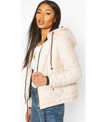 hooded padded jacket, nude