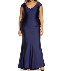 plus size women's la femme v-neck shiny jersey gown(plus size), size 16w - blue