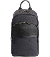royce new york men's heathered zip-around backpack - black