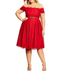 plus size women's city chic lace dreams off the shoulder cocktail dress, size small - red