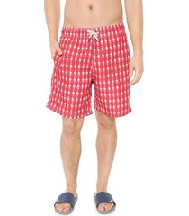 bermuda água shorts co quadrada espinha de peixe vermelha/branca