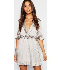 satin pleated plunge neck skater dress, silver