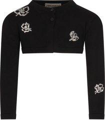 simonetta black cardigan for girl with flowers