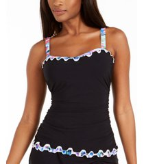 profile by gottex tricolore ruffled underwire tankini top, created for macy's women's swimsuit