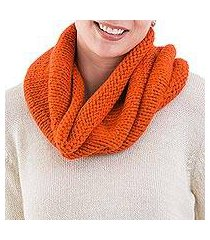 alpaca blend neck warmer, 'abundant orange' (peru)