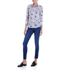 calca dudalina cigarrete demi curve essentials feminina (jeans escuro, 50)