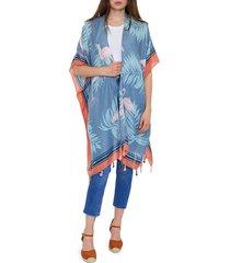 lulla collection by bindya women's flamingo-print kimono coverup - blue multicolor