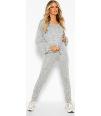 gebreide top & leggings lounge set, grijs