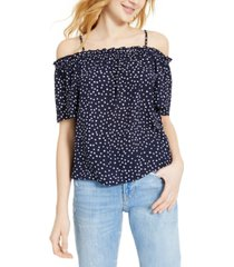 hippie rose juniors' printed off-the-shoulder top