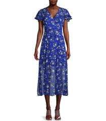 french connection women's jasmine crinkle floral midi dress - blue - size 8