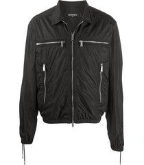 dsquared2 lace-up detail jacket - black