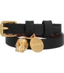 alexander mcqueen double skull wrap bracelet