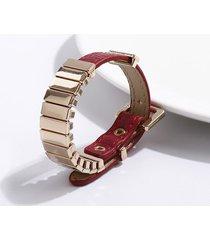 punk buckle faux leather alloy bracelet