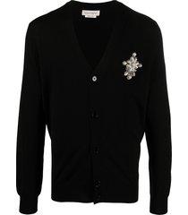 alexander mcqueen brooch-detail wool cardigan - black