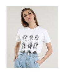 t-shirt feminina mindset rostos bordados manga curta decote redondo off white
