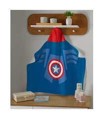 toalha de banho infantil capitão américa com capuz azul royal