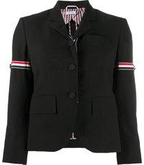 thom browne pinstriped seersucker blazer - black