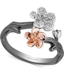 enchanted disney diamond mulan flower ring (1/6 ct. t.w.) in 14k rose gold, sterling silver & black rhodium-plate