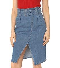 saia jeans lunender curta recorte azul - azul - feminino - algodã£o - dafiti