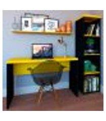 conjunto de mesa com estante e prateleira de escritório corp preto e amarelo
