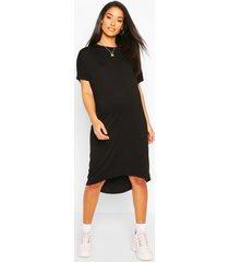 maternity dip hem oversized t-shirt dress, black