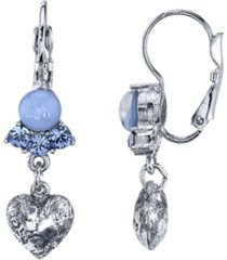 2028 silver tone lt. blue moonstone and crystal heart lever back drop earrings