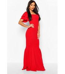 frill sleeve fishtail scuba maxi dress, red