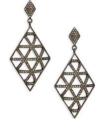 black rhodium-plated sterling silver & diamond drop earrings