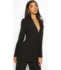 tall double breasted woven blazer, black