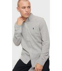 polo ralph lauren featherweight long sleeve knit skjortor heather
