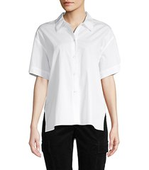 high-low cotton button-down shirt