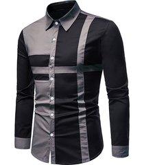 button up cross print contrast shirt