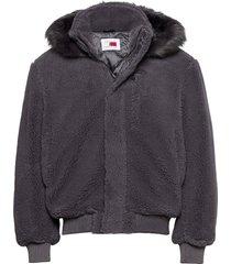 lh cozy hooded bomber jacket bomberjack jack grijs tommy hilfiger