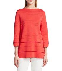 st. john women's ottoman stripe knit sweater - apple - size s