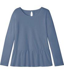 jersey shirt met schootje en druppelvormige opening op de rug, rookblauw 42