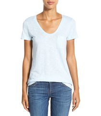 women's caslon rounded v-neck t-shirt, size medium - blue